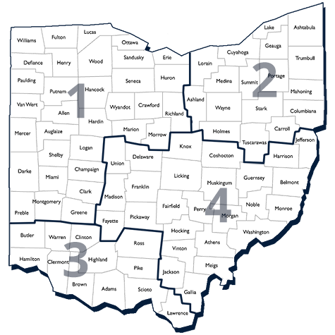 Regions Map for Ohio Commodores