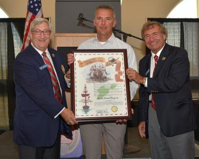 Grand Commodore Alan Stockmeister, Urban Meyer and Fleet Commodore Sam Covelli