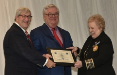 Grand Commodore Alan Stockmeister, Commodore James Dickey and Lifetime Membership Chair Ginni Ragan