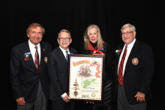 (left to right) Grand Commodore Sam Covelli, Governor Mike DeWine, Cheryl Krueger, Past Grand Commodore Alan Stockmeister
