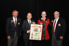 (left to right) Grand Commodore Sam Covelli, Governor Mike DeWine, Dr. Doreen Mary Larson, Past Grand Commodore Alan Stockmeister