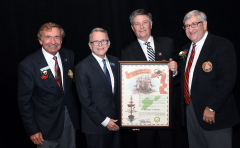 (left to right) Grand Commodore Sam Covelli, Governor Mike DeWine, Michael J. Gasser, Past Grand Commodore Alan Stockmeister