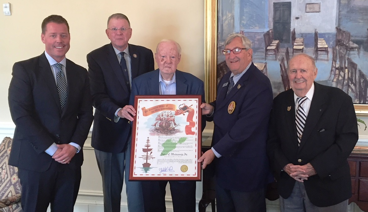 (Left to Right) Commodore Gordon Gough, Past Grand Commodore Thomas Winters, John C. Mahaney Jr., Elite Corps recipient, Grand Commodore Alan Stockmeister and Past Grand Commodore William (Bill) Morgan